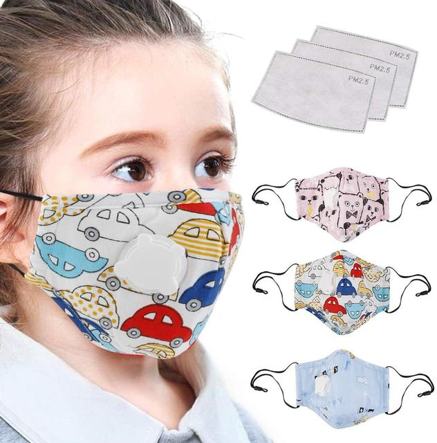 4-12 Years Children Face Mask with PM2.5 Filter Pad Boys/Girls Reusable Cotton Mask with Breathable Valve Kids Mask 1