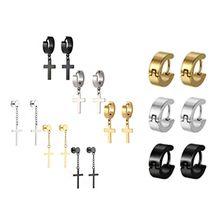 9 Pair/set Fashion Men Women Stainless Steel Cross Hoop Dangle Drop Earrings Unisex Ear Buckle Jewelry