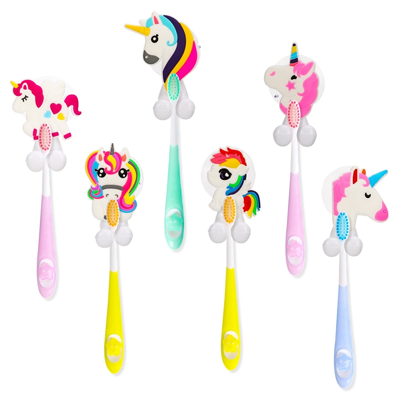 6Pcs/Set Unicorn Wall-Mounted Suction Cup Tooth Brush Holder Cup Holder Antibacterial Hook ToothBrush Set Holder Bathroom Gadget