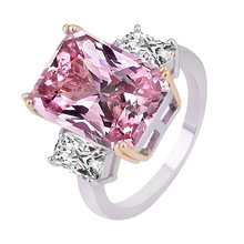 Wholesale Fashion Jewelry Romantic Pink Stone Zircon Wedding Band Rings for Women Girls Gifts  High Quality