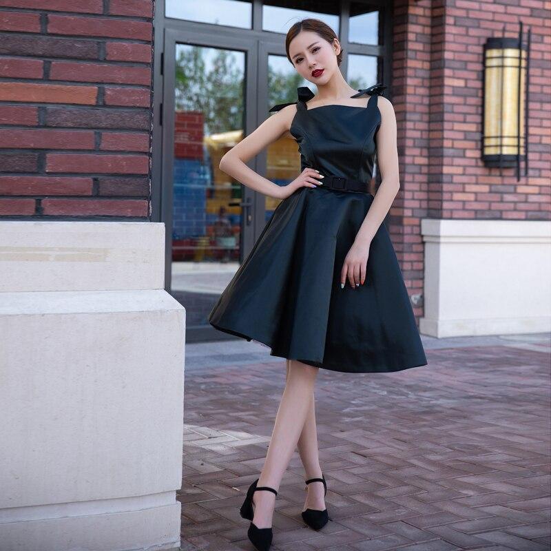 Vintage élégant rétro classique Hepburn soie taille haute bouffée robe noire femmes robe