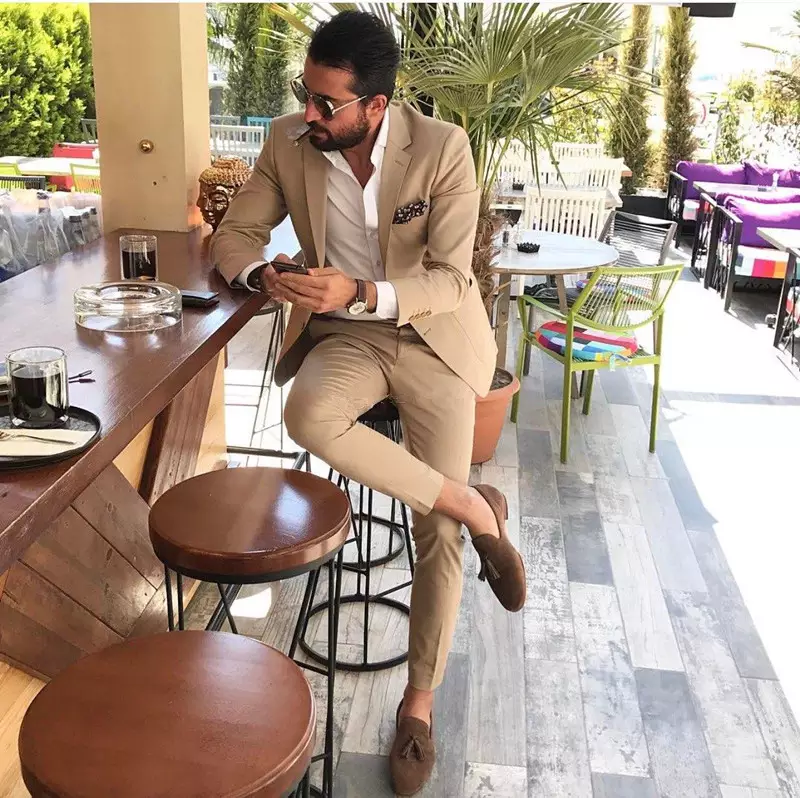 Custom Made Groomsmen Notch Lapel Groom Tuxedos Champagne Men Suits Wedding/Prom Best Man Blazer ( Jacket+Pants+Tie )