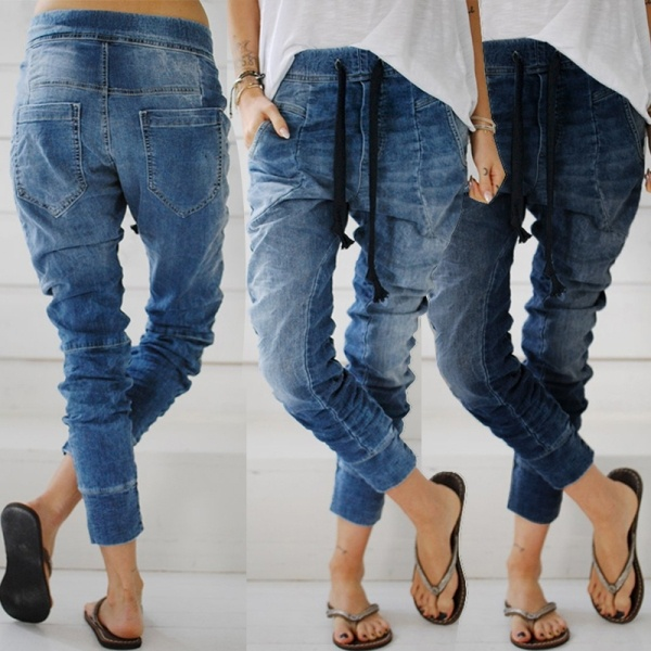 Women's Fashion Loose Denim Harem Pants Elastic Waist Lace Up Jeans Blue Retro Casual Trousers