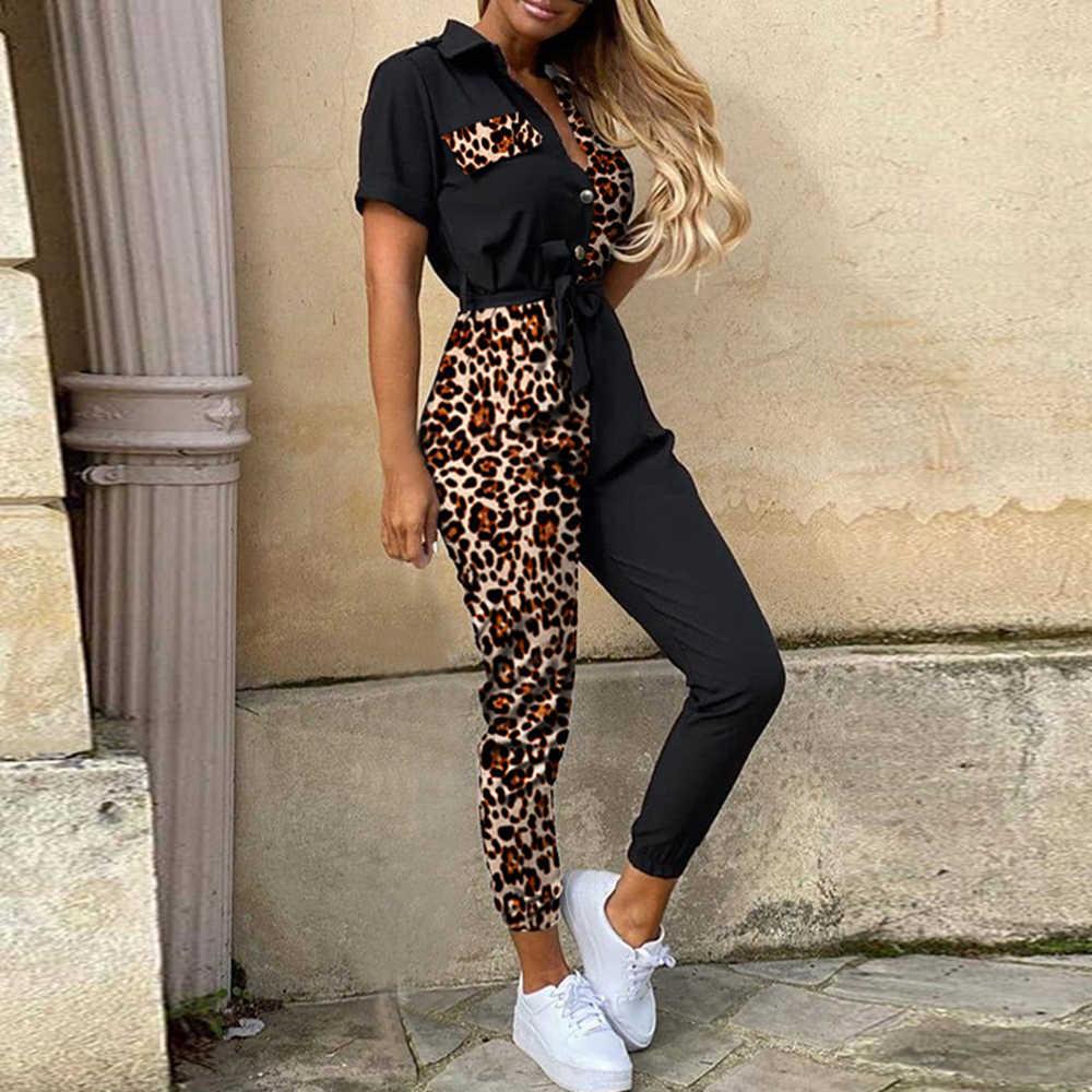 SHUJIN 편지 인쇄 점프 슈트 여성 여름 2020 딥 브이 넥 버튼 셔츠 오버올 반소매 오피스 레이디 원피스 Romper Belt