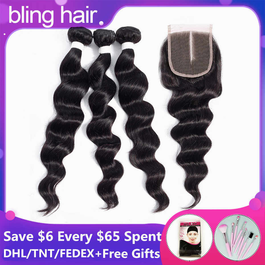 Bling Hair Loose Deep Wave Bundles With Closure Brazilian Hair Weave Bundles With Closure Remy Human Hair Extensions Double Weft