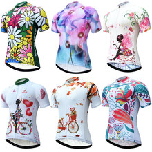 Cyling Jersey Women Short Sleeve Summer MTB Bike Jersey Shirt Sublimated Printing maillot ciclismo Bicycle Clothing Wear cheap JESOCYCLING Polyester J035124 Spring AUTUMN Jerseys Full Zipper Fits true to size take your normal size Breathable Quick Dry