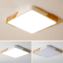 Nordic Modern Simple Wood Ceiling Lamp Ultra thin 5cm Square LED Ceiling Light For Bedroom Living Room Kitchen Aisle Study Cafe nordic simple kitchen loft led ceiling light living study dinning room modern creative wood bedroom aisle lustre lamp garland
