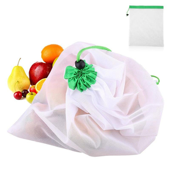 5pcs Reusable Mesh Vegetable Storage Bag Kitchen Fruit Pocket Drawstring Grocery bag Eco Shopping Tote Bag Food Container 4