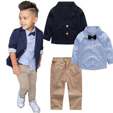 3PC Spring Autumn boys clothing set back to school outfit baby boys clothes sets little gentleman for 2 3 4 5 6 7 8 years boy