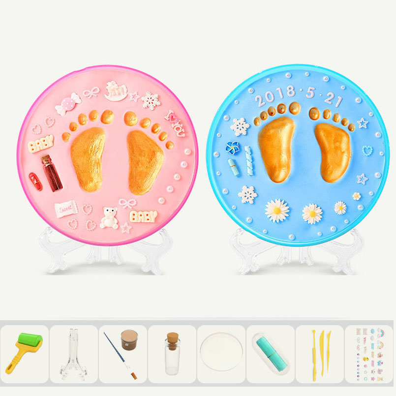 Safe Newborn Baby Hand Print Footprint Imprint Kit Baby Care Air Drying Soft Clay DIY Toys Casting Souvenirs Mud Maker Gifts