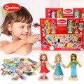 Kinder spielzeug pädagogisches spielzeug 63 PCS bausteine puzzle magnet nette mädchen Montessori Kleid DIY Spiel spielen für geschenk