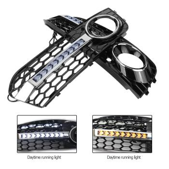 1 Pair Front Bumper Fog Light Grill Grille Cover with Flowing LED Turn Signal DRL for Audi A4 B8 2009-2011 Car Accessories image