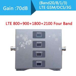 Усилитель сотового телефона LTE800 900 1800 2100 МГц, четырехдиапазонный усилитель мобильного сигнала, 2G 3G 4G LTE сотовый ретранслятор LTE GSM DCS WCDMA
