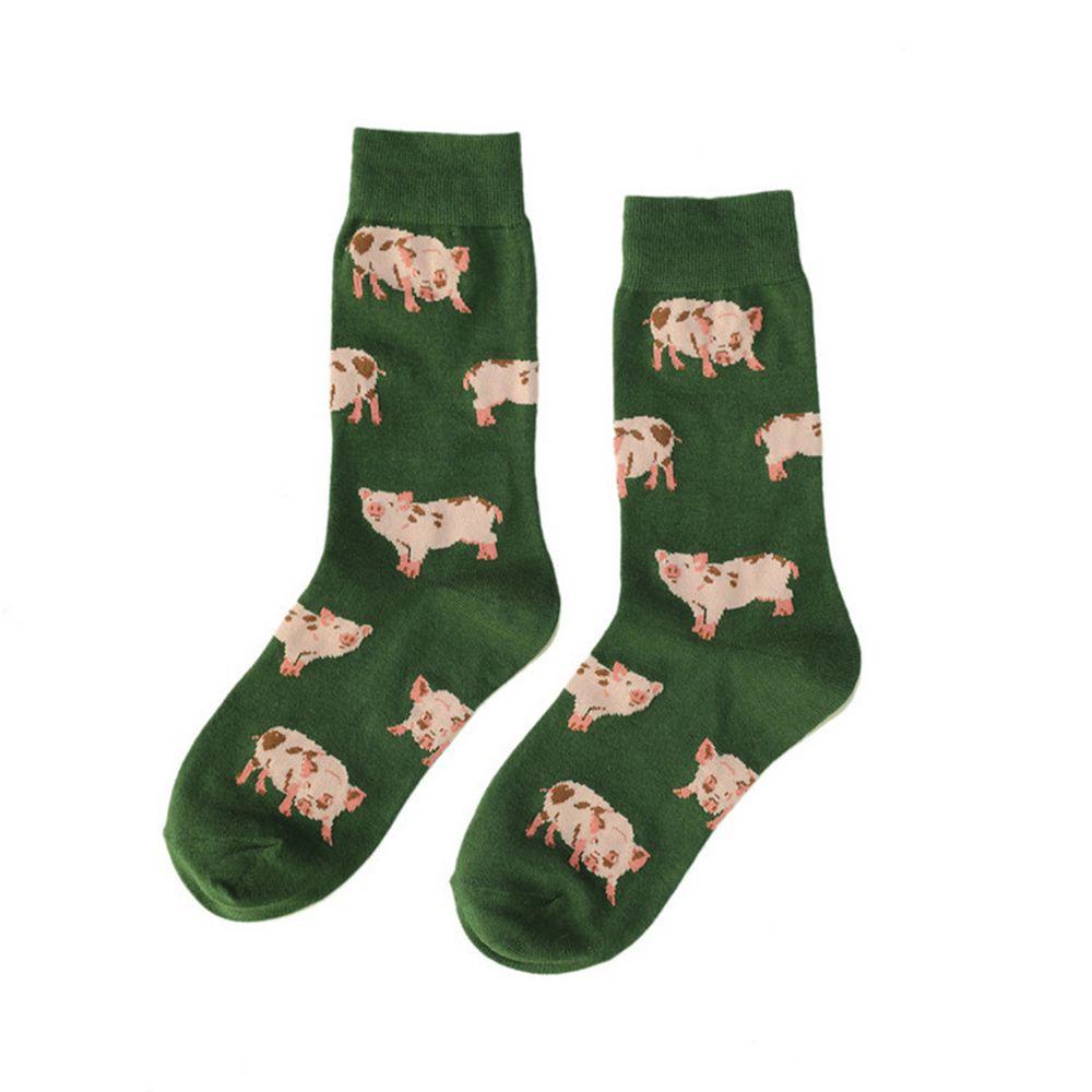 Pig Animal Pattern Harajuku Happy Socks Men's Funny Combed Cotton Dress Wedding Socks Colorful Novelty Skateboard Socks Women