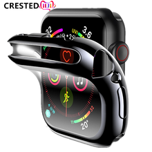 Capa para apple watch band 44mm/40mm para apple watch 6 5 4 3 42mm/38mm iwatch protetor de tela acessórios silicone pára-choques