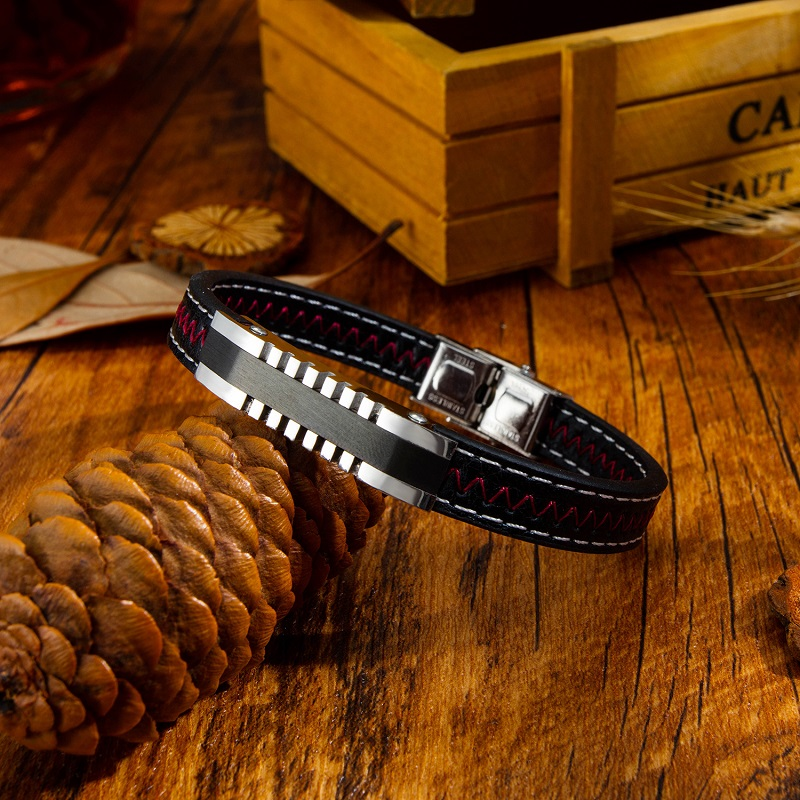 Trendy Jewelry Men Black Leather Rope Bracelet Silver Stainless Steel Bracelets Bangles Punk Male Wrist Band Pulsera Hombre