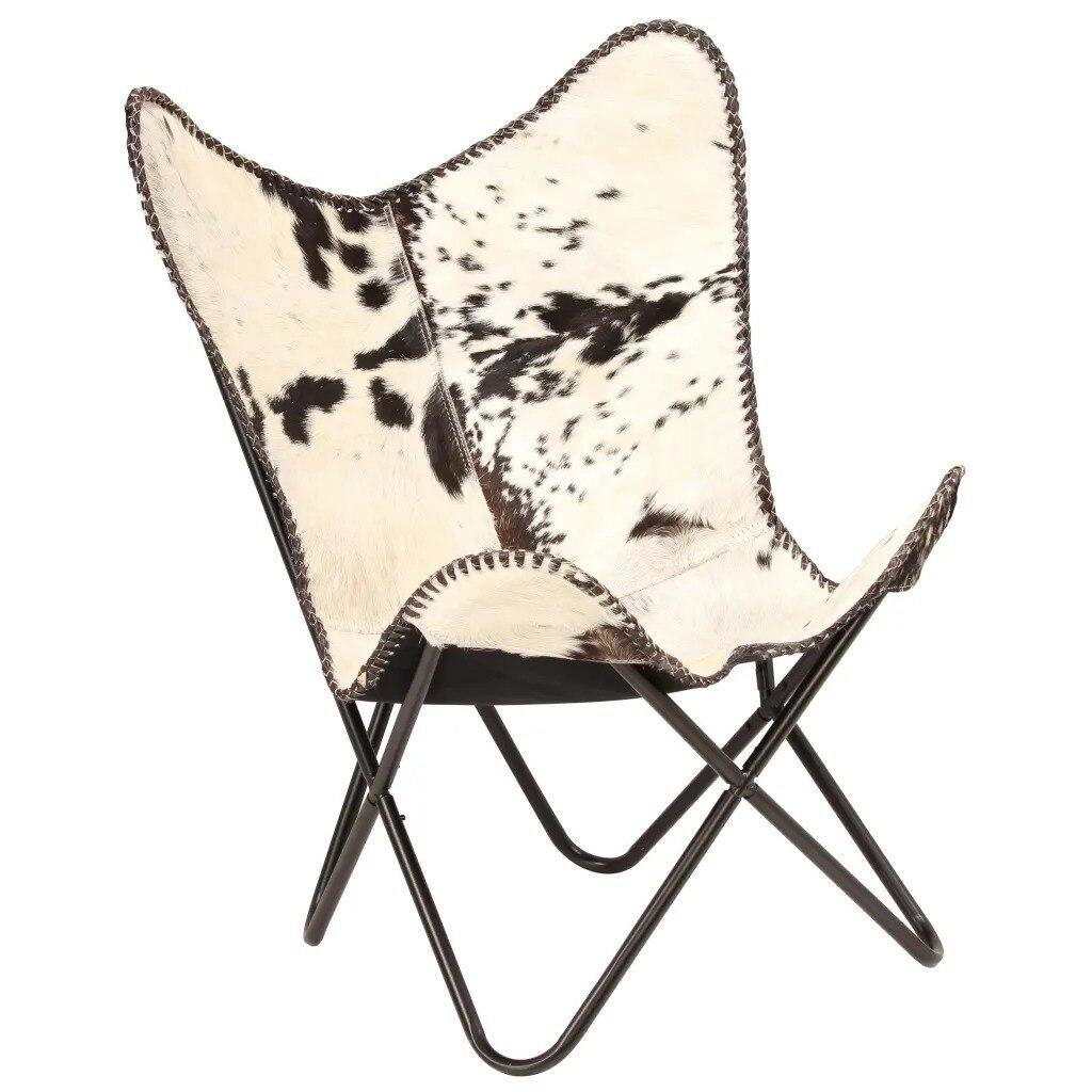 VidaXL складной рыболовный стул с бабочкой, табурет из натуральной козьей кожи, черный и белый цвета, мебель для улицы, переносное кресло