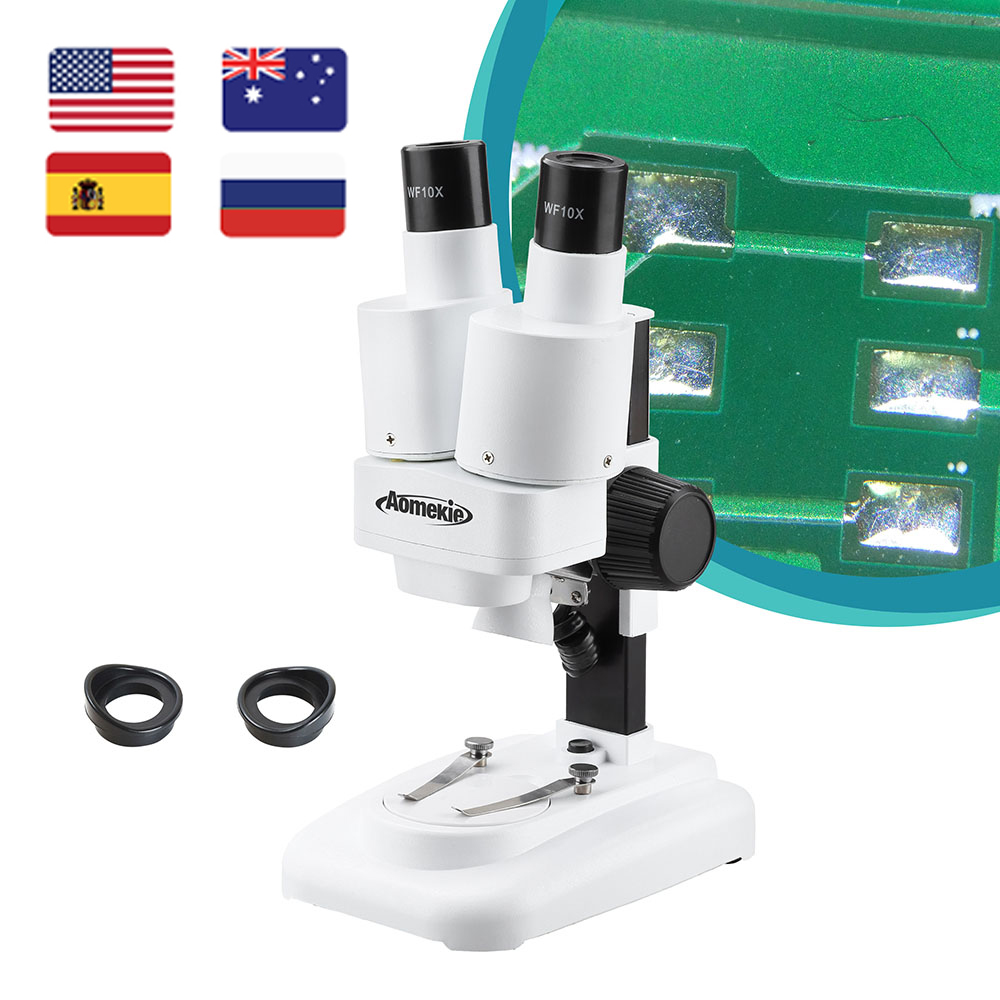 AOMEKIE 20X Binocular Stereo Microscope Wide Field of Vision for PCB Solder Mobile Repair Tool Slides Mineral Watching Kids Gift