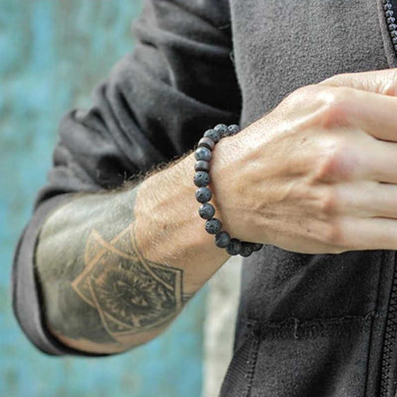 Mcllroy Classic Lava Stone Bracelet Homme Bead Tibetan Buddha Bracelet chakra Natural Stone Diffuser Bracelets Men Jewelry Gifts