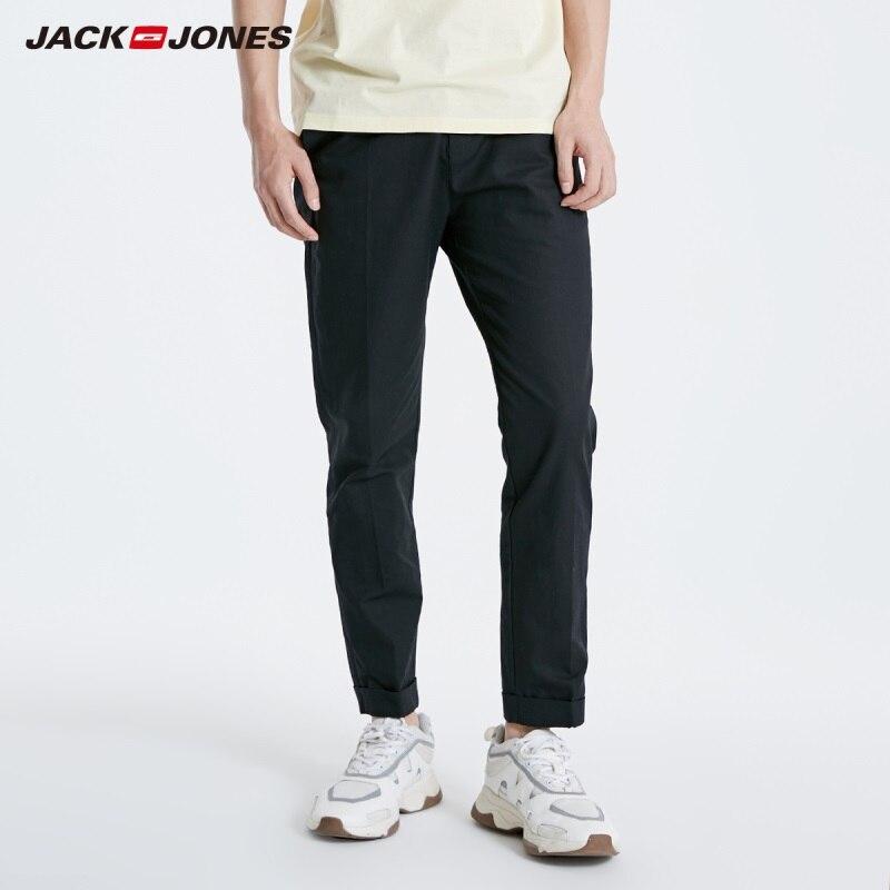JackJones Men's Ankle-length Cotton Linen Fabric Casual Pants Basic Trousers 219114542