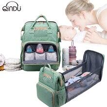 2в1 складной детская кроватка мешок многофункциональный большой емкости детские пеленки сумки путешествия рюкзак портативный новорожденных подгузник организатор ухода
