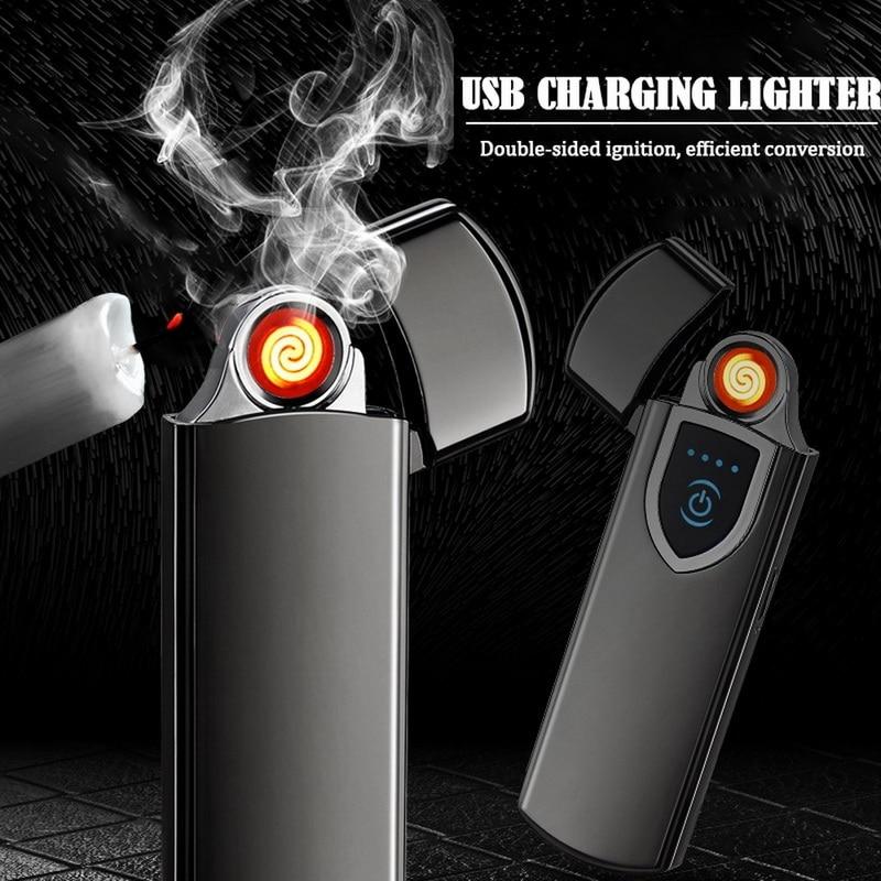 Перезаряжаемая USB-зажигалка Z, ветрозащитная Бездымная беспламенная электрическая зажигалка, Индукционная Электронная зажигалка со сканер...