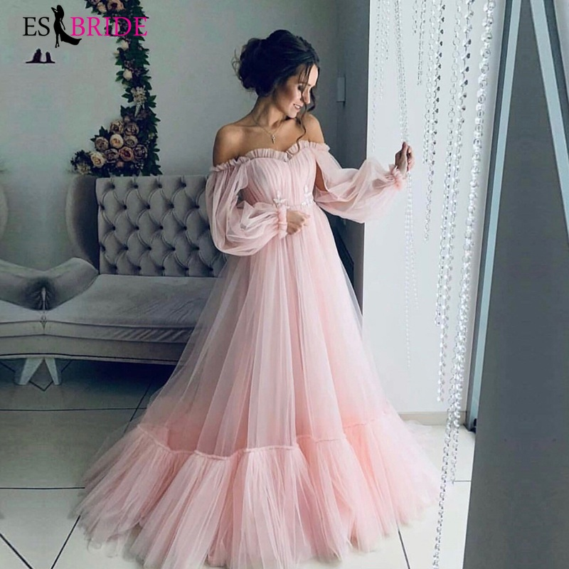 Long Sleeves Elegant Pink Evening Dress 2019 Cheap Prom Gowns A Line Custom Made Ruched Beautiful Girls Party Dress 2019 ES3015