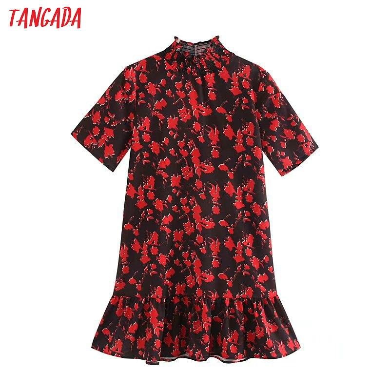 Tangada Women Floral Pattern Turtleneck Mini Dress Short Sleeve Ladies Casual Wear Loose Dresses Vestidos Mujer 5Z77