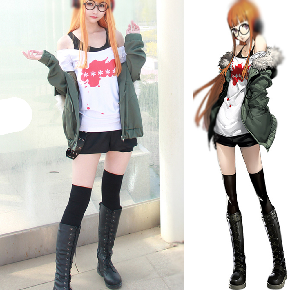 Persona 5 Futaba Sakura Star Key Shirt A.F.K Cosplay Costume Suit Boots Wig