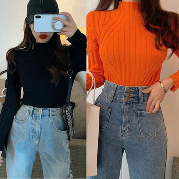 New Women Autumn Spring Korean Version Long Sleeve Loose Sweater Girl Slim Solid Color Sweater Black Bottoming Warm Sweater 2019 spring new women half sleeve loose flavour black dress long summer vestido korean fashion outfit o neck big sale costume