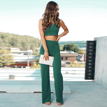 Spring Summer Women Casual 2 Piece Sets Sleeveless Crop Tops + Loose Long Pants Ladies Fashion Sexy Slim Green Suits D30 2019 spring hip hop clothes fashion letter printing tops light green pants suits female casual loose 2 piece sets