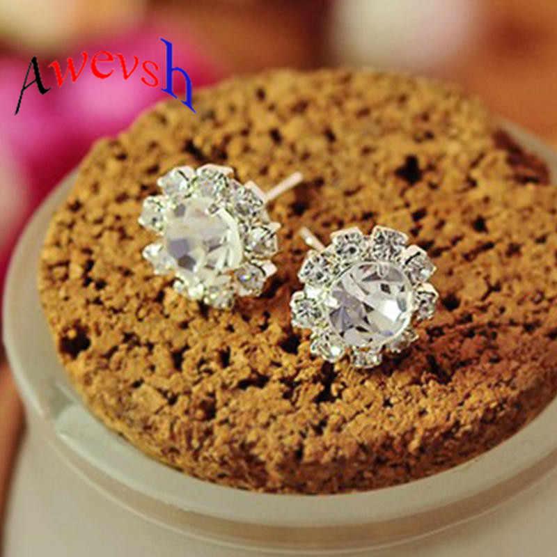 Awevsh Stylish Sun Flower Zircon Ear Stud Earrings Women Eardrop Jewelry Gift Modern Womens Jewelry Earrings for Gift Woman