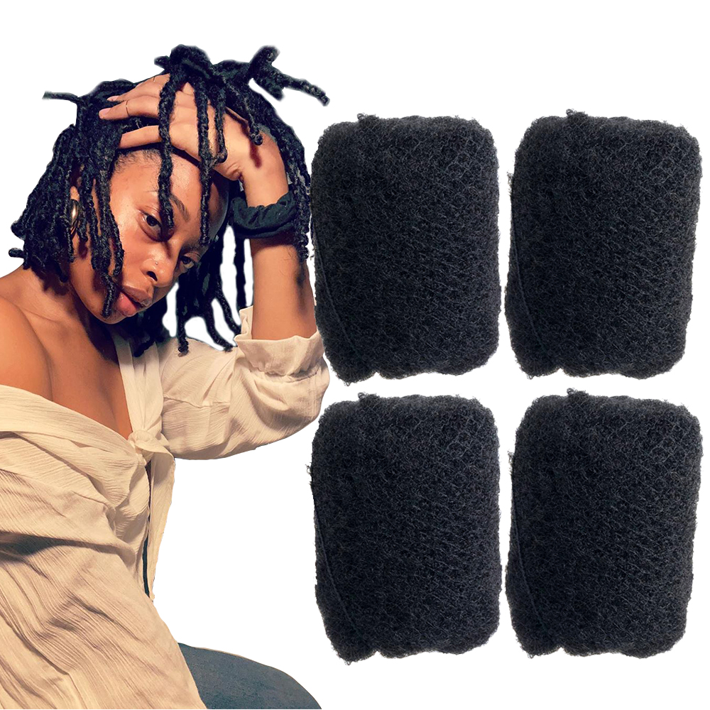 YONNA 4Pcs/Lot Tight Afro Kinky Bulk Hair 100% Human Hair For Dreadlocks,Twist Braids Jet Black Colour #1 Length 8