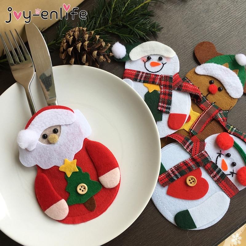 8 adet Merry Christmas bıçak çatal çatal çanta seti doğum noel süslemeleri ev için 2021 yeni yıl arifesinde noel partisi dekorasyonu