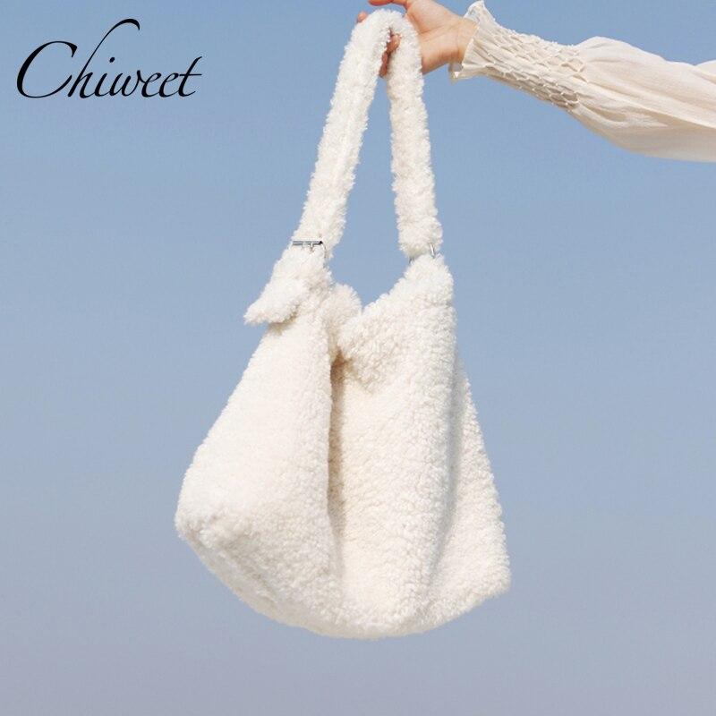Зимние женские сумки из овечьей шерсти, роскошные дизайнерские белые сумки на плечо, брендовые большие сумки из искусственного меха, женская сумка мессенджер, сумка мешок|Сумки с ручками|   | АлиЭкспресс - Аналоги сумок с показов мод осень-зима 2020/21