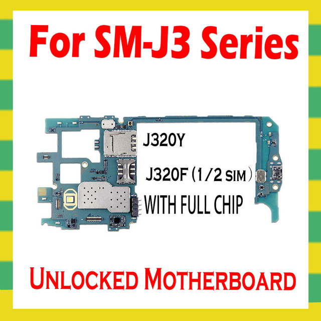 For Samsung Galaxy J3 J320Y J320F Original Unlocked Motherboard Android Clean Mainboard With Full Chips Unlock Main Logic Board