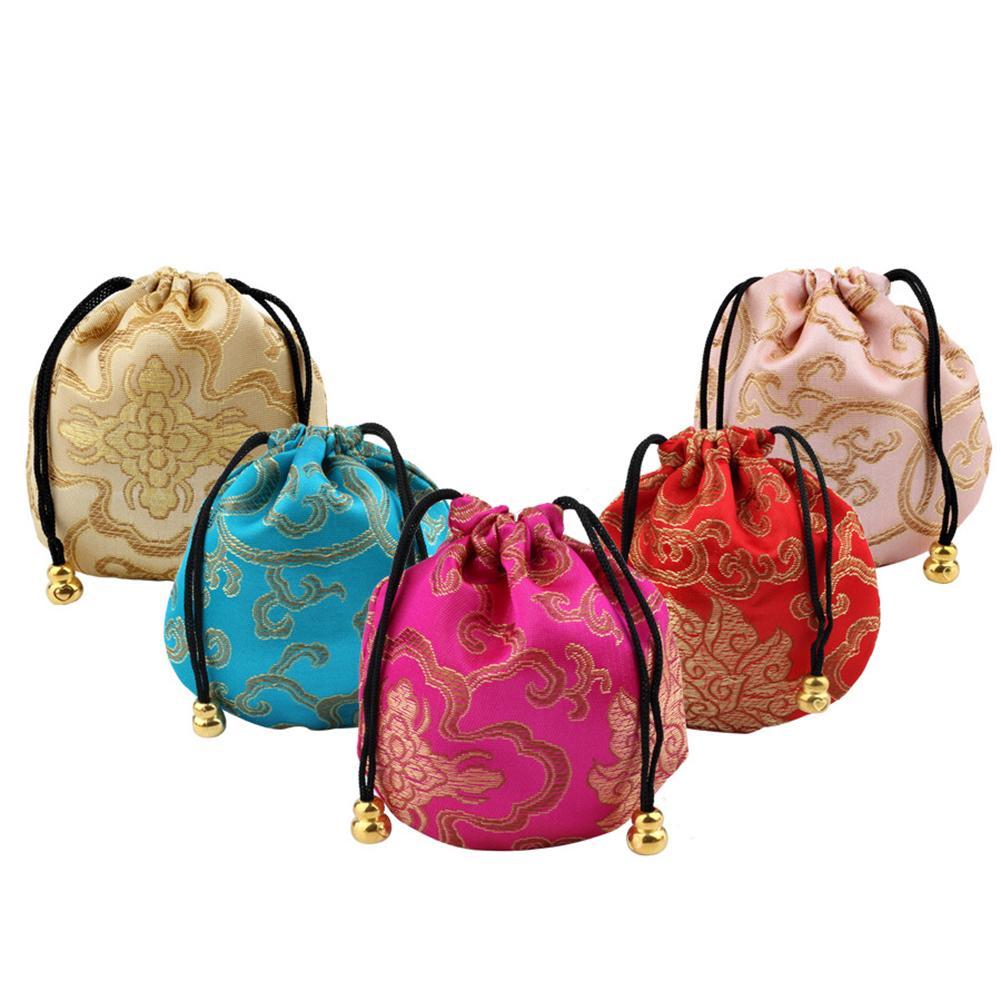 New Silk Jewelry Pouch Embroidery Handbags Sachet Auspicious Cloud Storage Creative Drawstring Lucky Bag Wedding Favors Gift