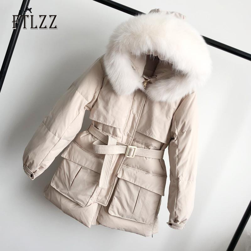 2019 New Winter Snow Outerwear Parkas Women Warm Thick Hooded Cap Natural Fox Fur Collar Slim Long White Down Jacket And Coats