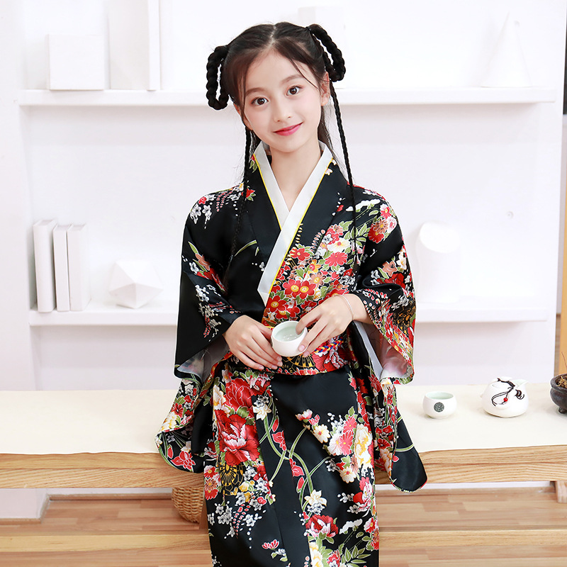 Baby Girl Kimono Traditional Formal Dress Kids Japanese Style Party Cosplay Costume Children Yukata Robes Haori Samurai Clothing