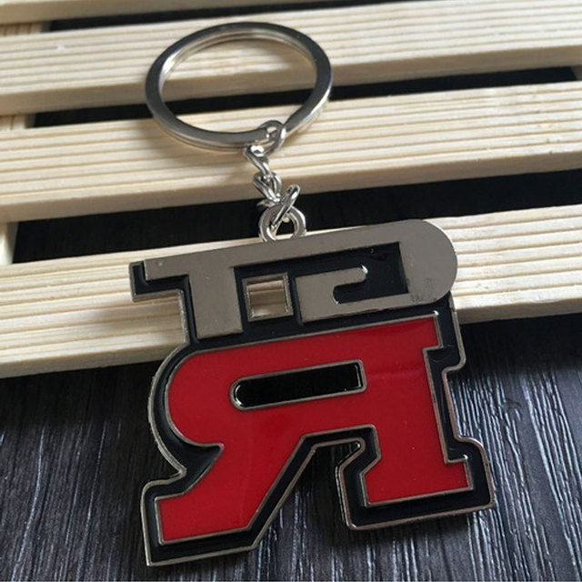 DSYCAR 1Pcs Zinc Alloy Grill Key Chain Keychain Metal Chrome Ring For Nissan GTR New