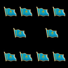 10PCS/Lot National Flag Metal Lapel Pin Flag Pin Kazakhstan Really Patriotism Country Badge Brooch Pins 10pcs collectible national flag slovenia country zinc alloy lapel pins set brooch badge for clothing accessories