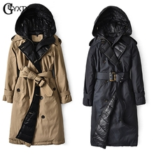 GBYXTY British Down Trench Coat 2020 Winter Women Hooded Long Thick Duck Down Trench Jacket Puffer Feather Parka Mujer ZA2147