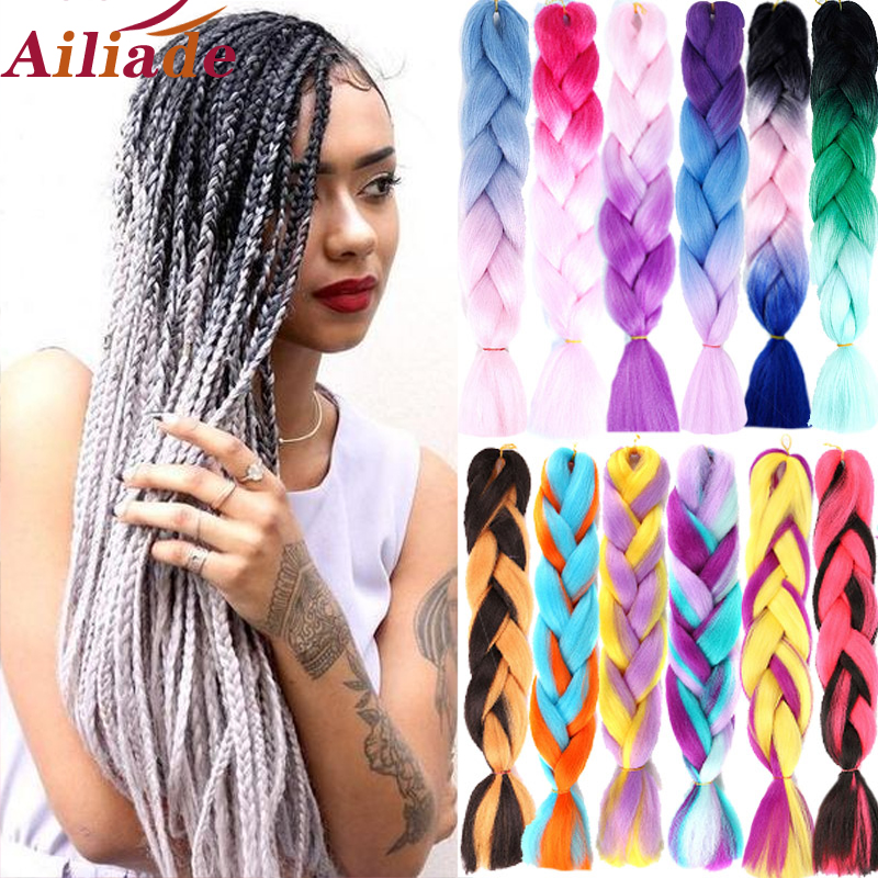 AILIADE  Women Jumbo BoxBraids Hair Crochet Hair Extensions Synthetic Hair For Braiding 24inch Two-tone Pink Blue