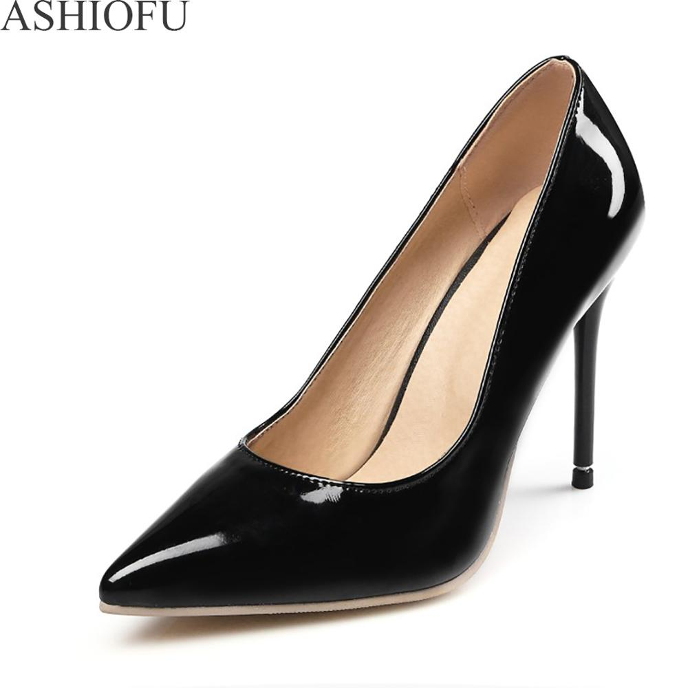 ASHIOFU Ladies High Heel Pumps Patent Leather Party Office Dress Shoes Pointy Club Fashion Dress Evening Court Shoes