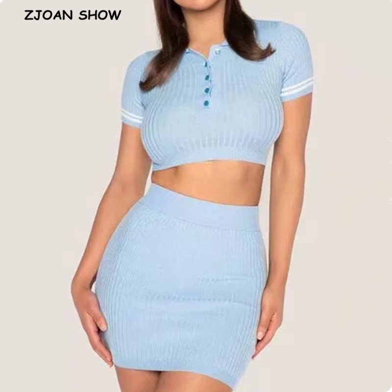 2020 Lapel Knitted Short Sleeve T-shirt Casual Women Package Hips Mini Short Skirt Crop Top Short Pullover Tee Tops 2 Pieces Set