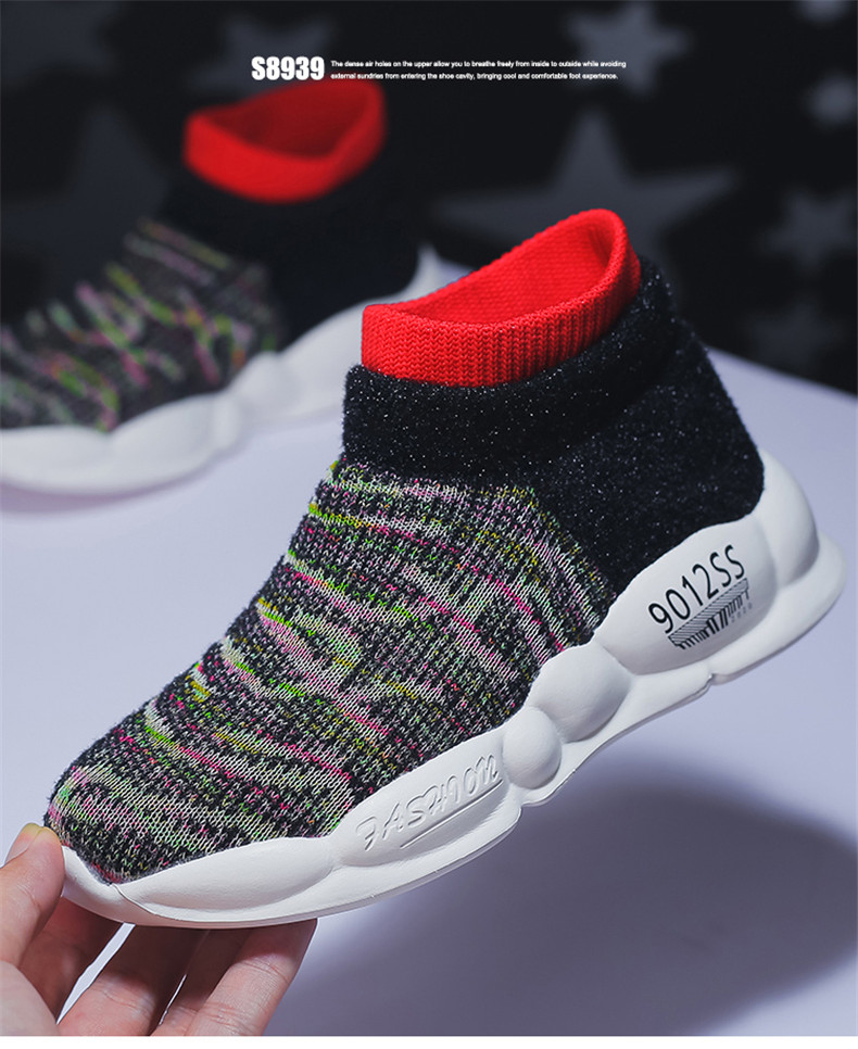 PINSEN 2019 Spring Autumn Children Sneakers Girls Shoes Fashion Kids Shoes Mesh Breathable Child Socks Shoes Boys Casual Shoes (11)