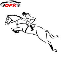 Horse Racing Polo Jumping Horseback Decorative Stickers Creative Cartoon Car Stickers Accessories Black/white,17cm*12cm