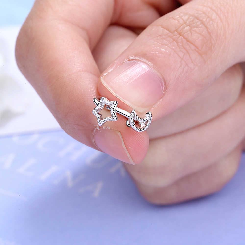 Pendientes de Clip de estrella de Luna hueco de Plata de Ley 925 pendientes asimétricos para envolver los pendientes de la joyería de las mujeres S-E955
