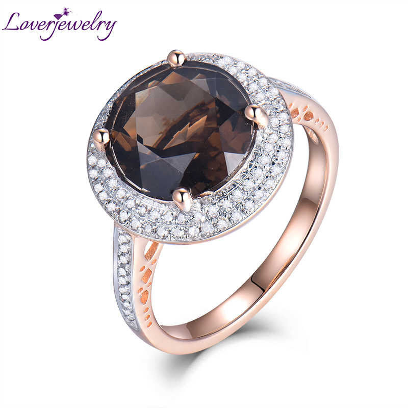4.66Ct Solid 14kt Rose Gold Diamond Smoke Topaz Round 10x10mm Engagement Wedding Ring