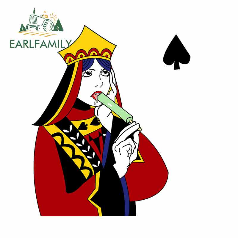 EARLFAMILY 13cm x Funny Playing Cards Car Stickers RV VAN 3D DIY Fine Decal Bumper Trunk Truck Graphics Accessories